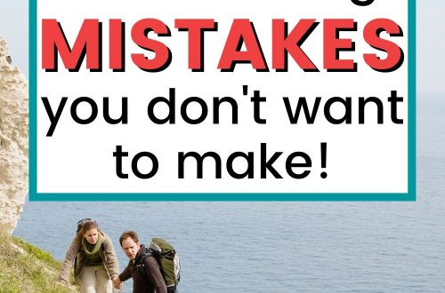 Couple hiking on path above water text overlay 10 Rookie Hiking Mistakes