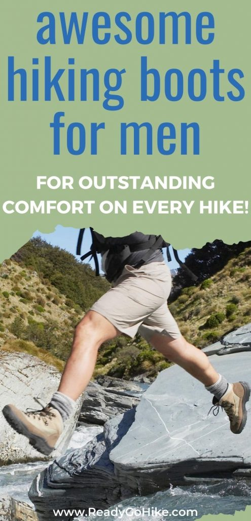 Man leaping over river text overlay Awesome Hiking Boots for Men