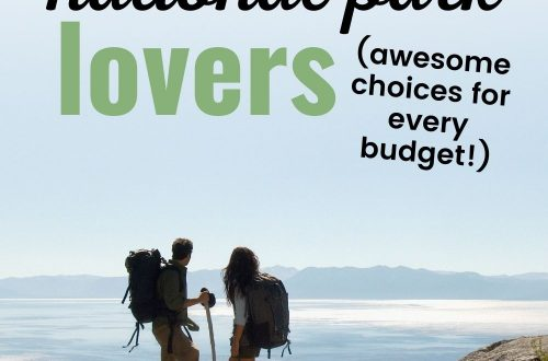 Hiker couple overlooking ocean text overlay 10 Perfect Gifts for National Park Lovers