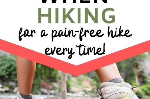 Woman in hiking boots crossing stream with text overlay How to Prevent Blisters When Hiking