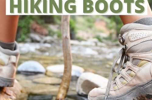 Woman hiking across stream with text overlay How to Quickly Break in Hiking Boots
