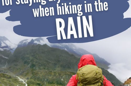 Hiker walking in rain with text overlay 8 Must-Know Tips fo Staying Dry and Comfortable When Hiking in the Rain