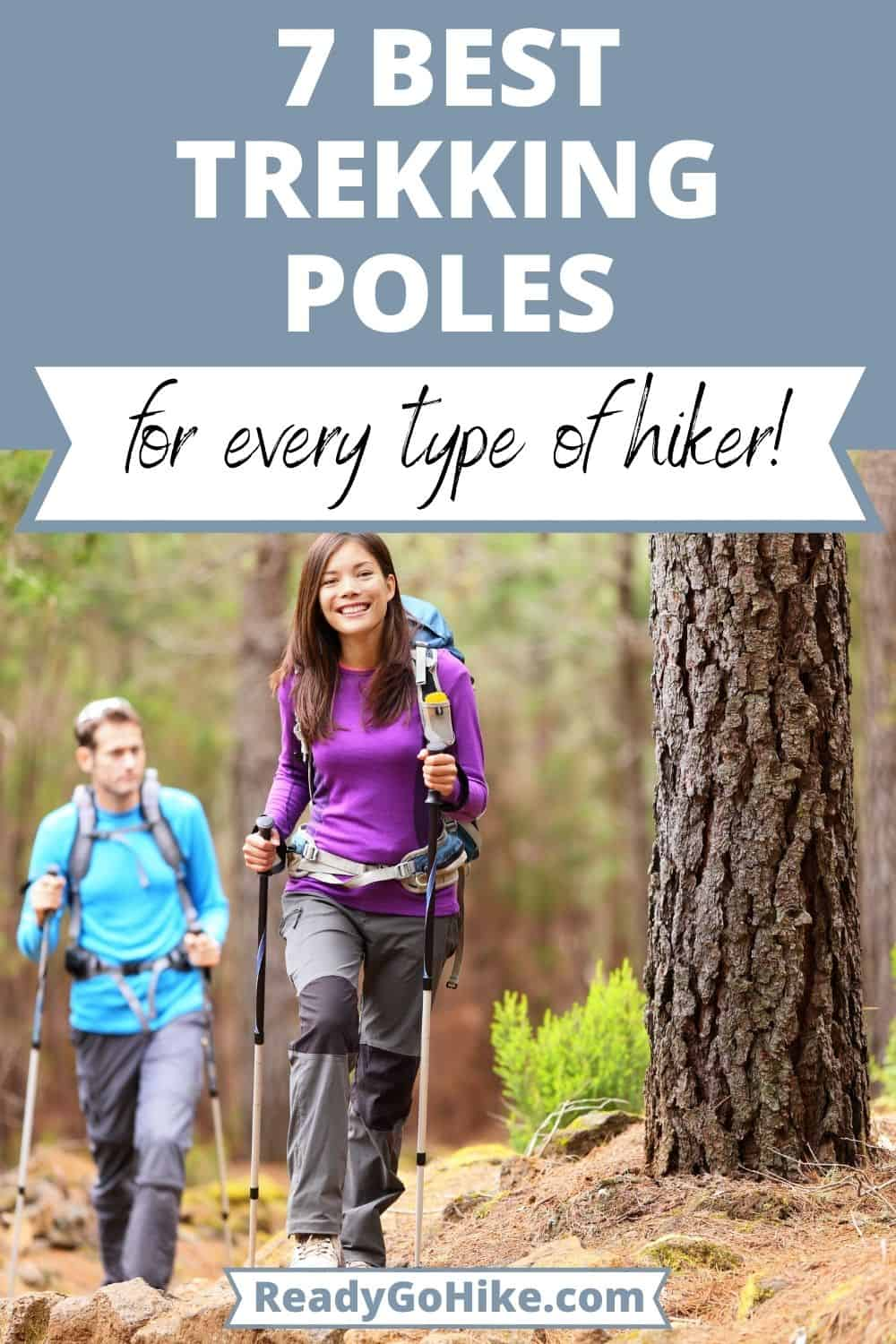 Man and woman using hiking poles in forest with text overlay 7 Best Trekking Poles