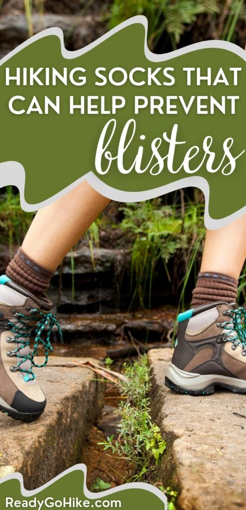 Woman hiking over rocks with text overlay Hiking Socks That Can Help Prevent Blisters