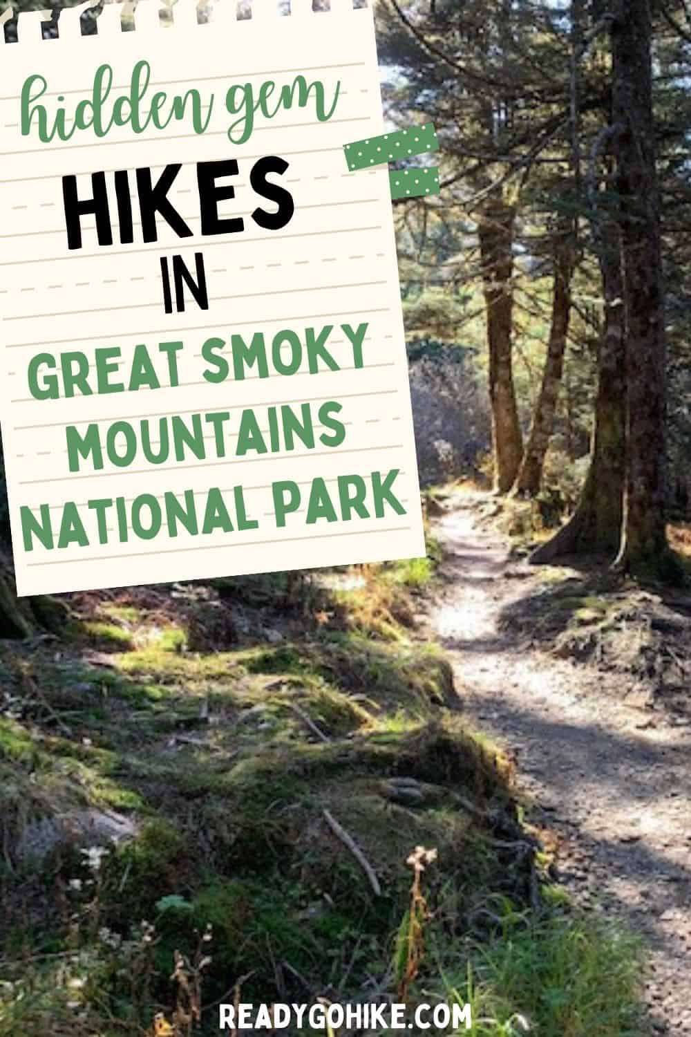Hiking trail going through forest with text overlay Hidden Gem Hikes in Great Smoky Mountains National Park