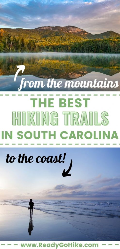 Collage of Pinnacle Mountain and beach at sunrise with text overlay The Best Hiking Trails in South Carolina