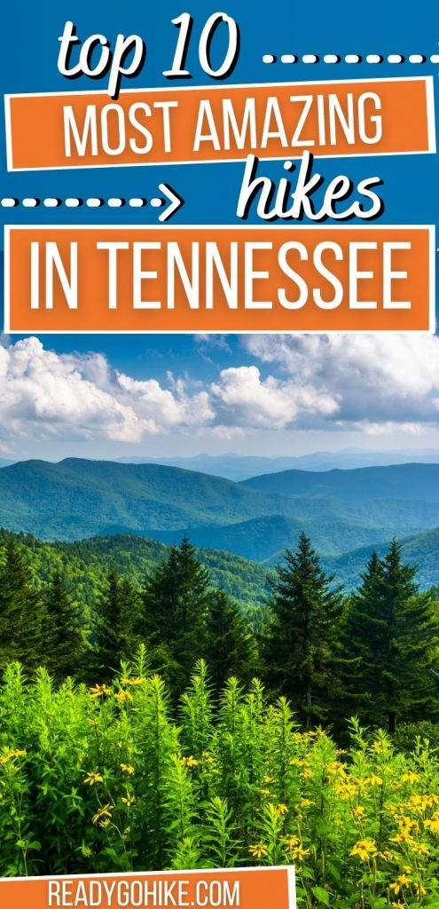 Picture of Great Smoky Mountains with text overlay Top 10 Most Amazing Hikes in Tennessee