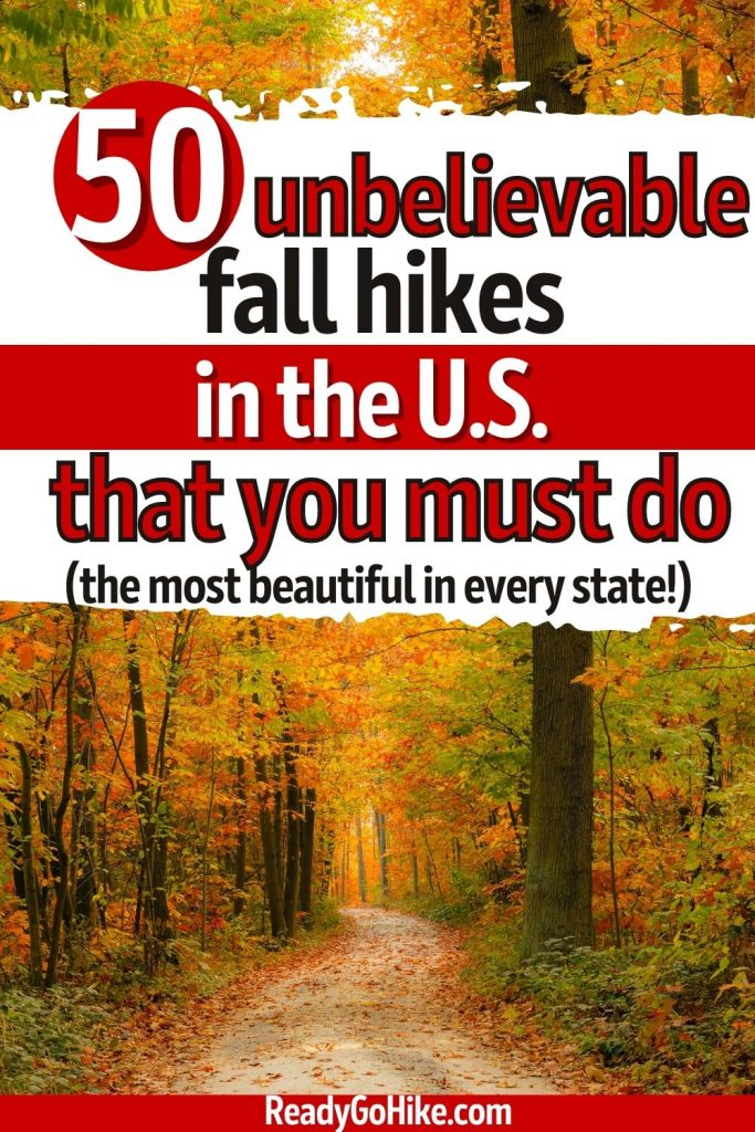 Picture of path winding through fall trees with text overlay 50 Unbelievable Fall Hikes in the U.S. That You Must Do The Most Beautiful in Every State