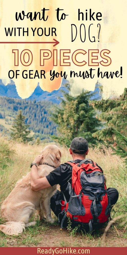 Picture of hiker and dog taking in mountain view with text overlay Want to Hike With Your Dog? 10 Pieces of Gear You Must Have