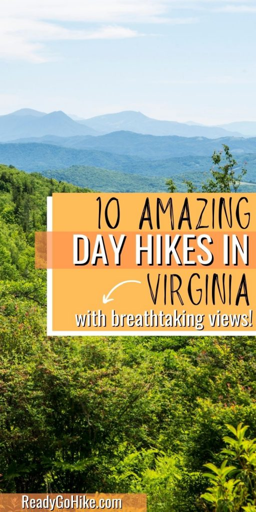 Picture of mountain view from Grayson Highlands Park with text overlay 10 Amazing Day Hikes in Virginia With Breathtaking Views